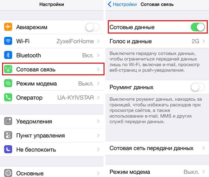 Отключить передачу данных iPhone